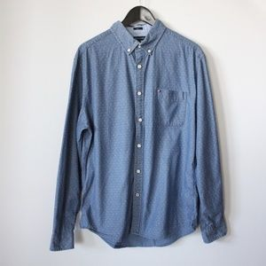 Tommy Hilfiger Mens Button Front Shirt Large Blue
